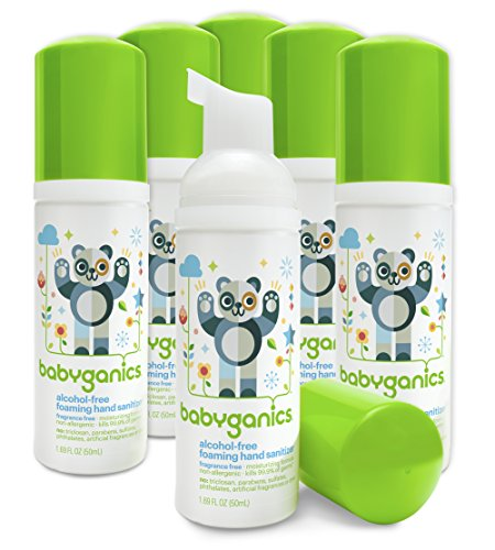 Babyganics Alcohol-Free Foaming Hand Sanitizer, Fragrance Free, On-The-Go, 50 ml (1.69-Ounce), Pump Bottle (Pack of 6) ()