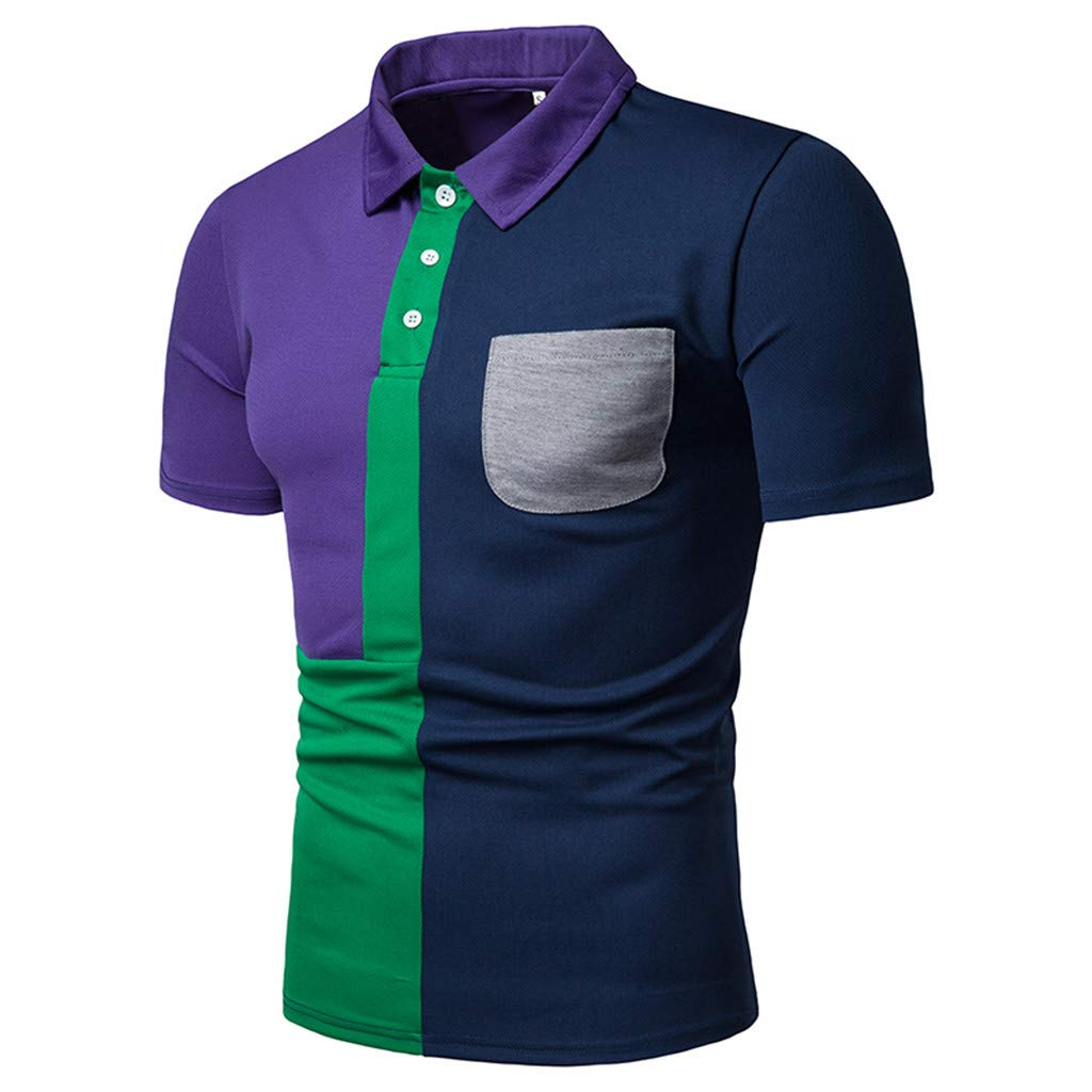 Manzzy Mens Short Sleeve Polo Shirts Summer Casual Patchwork Shirt Top Blouse