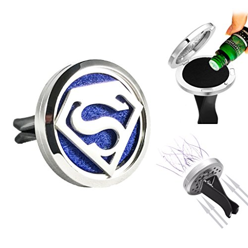 Superman Car Air Freshener Aromatherapy Essential Oils Vent Clip Locket Diffuser Pads Travel