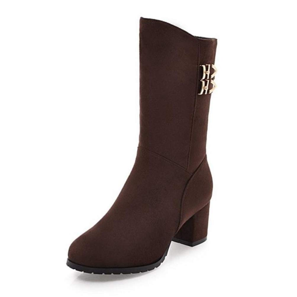 Womens Mid Boots Calf Size 31-43 Woman High Heel Boots Mid Calf Winter Fur Boots Metal Buckle Zipper Shoes Women Fashion Simple Womens Shoes Mid Boots Calf