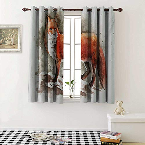 shenglv Fox Decor Curtains by Watercolor Hand Drawn Red Fox with Bushy Tail Brushstrokes Tod Mammal Curtains Girls Bedroom W63 x L63 Inch Burnt Sienna White Brown