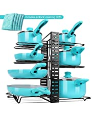 MASTERTOP Heavy Duty Pans Pots Cover Lids Organizer Rack with 8 Layers Adjustable Cookware Holder Stand with 5 Microfiber Cleaning Cloths for Kitchen