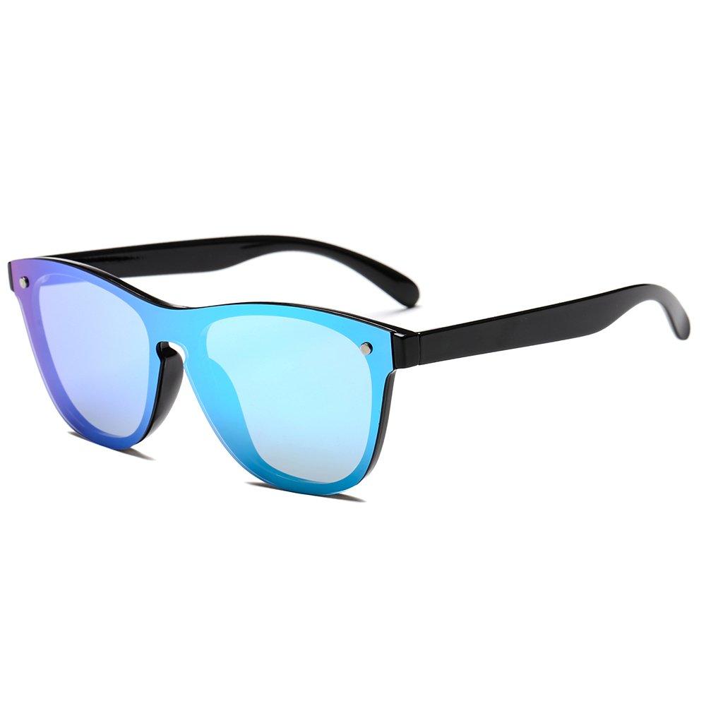SUERTREE Cat Eye Mirrored Sunglasses Women Men Flat Top Vintage Shades Fashion Retro Eyewear UV400 JH9004 JH9004BBM