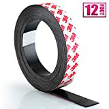 Craftopia Self Adhesive Magnet Strip Cuttable Roll | 1 inch x 12 ft | Sticky Back Magnetic Tape | Strong, Flexible & Easy to Cut Peel and Stick Magnetic | Thick 50 mil | Crafts, Gifts, Office, Home