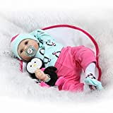 Silicone Reborn Baby Dolls Girl Look Real Lifelike Toddler Light Blue Rose Red Outfit with Toy Penguin 22 inches