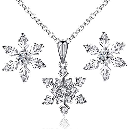 ATDMEI Frozen Snowflake Necklace and Earrings Set for