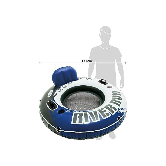 51Leb80OLJL Sillón hinchable Intex de la línea River Run 1, ideal para descansar en el agua, con un diámetro de 135 cm Rueda hinchable con respaldo para piscinas y/o la playa Cuenta con: fondo del sillón de rejilla, 2 cámaras de aire, 2 portabotellas, 2 asas de sujeción, cuerda de agarre/transporte y conectores