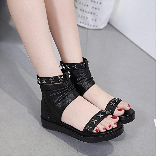 Taille 1 Eu Girl Tongs Hip Wagsiyi Kaki Chaussures Sandales Dames 39 Errant Rivets Kaki couleur Slipper hop Cool Paillettes 3 Style À 4wRaU