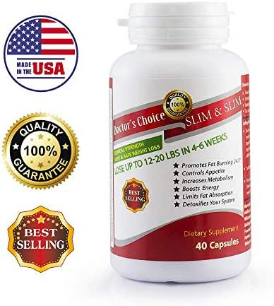 Natural Weight Loss Supplements for Women, Dietary Supplements by Doctor's Choice Slim&Slim, Fat Burners, Appetite Suppressant, Metaolism and Enegy Boost, 40 Capsules. Made in USA.