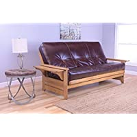 Phoenix Full Size Futon, Butternut Wood With Bonded Leather Innerspring Mattress, Java