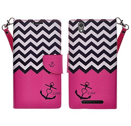 ZTE ZMAX Z970 - Wallet Pouch All-in-One Phone Protective Cover Premium Faux Leather Flip Folio Case w/ Kickstand By Zase ® Unique Design (Hot Pink Anchor)
