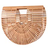Womens Bamboo Handbag Large Handmade Summer Beach Bag Tote Purse Top-handle Gift Satchel (Small Bamboo Handbag)