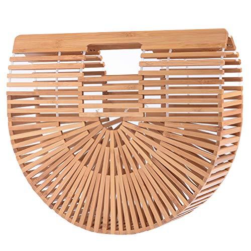 (Womens Bamboo Handbag Large Handmade Summer Beach Bag Tote Purse Top-handle Gift Satchel (Large) )