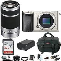 Sony Alpha a6000 Mirrorless Camera w/ 55-210mm Lens & 32GB SD Card Bundle (Silver)
