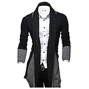 TAM WARE Mens Classic Fashion Marled Open-Front Shawl Collar Cardigan
