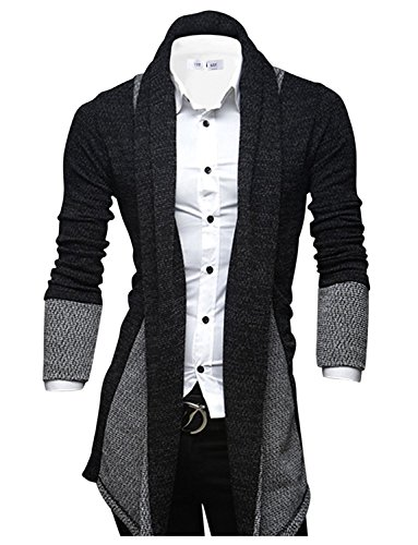 TAM WARE Mens Classic Fashion Marled Open-Front Shawl Collar Cardigan 3