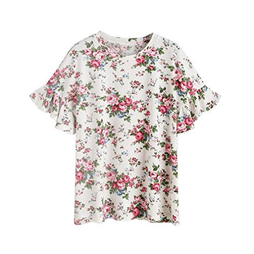 ❀TOOPOOT❀ Women's Ruffles Sleeve Tops Floral Print T-shirts Blouse (XL)