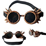 ABS Spiked Steampunk Goggles Glasses Cosplay Costume Props (Red Copper)