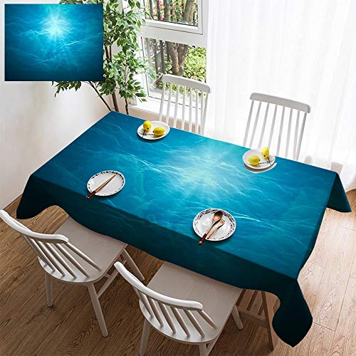 HOOMORE Simple Color Cotton Linen Tablecloth,Washable, 3D Rendered Illustration of Sun Rays Under Water Undersea Background Decorating Restaurant - Kitchen School Coffee Shop Rectangular 120×60in (Lila Ray)