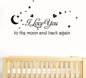 I Love You to The Moon Wall Decals for Girls Bedroom Home Decor Nursery Boys Baby Quotes Family Goodnight Star Stickers Window Glass Decal Letters Vinyl Tile Sticker Art Peel and Stick Removable