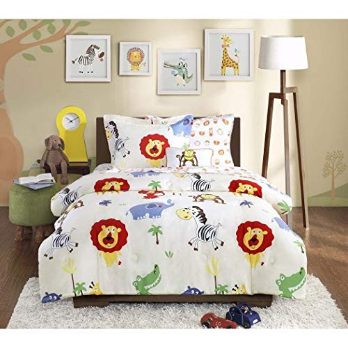 (6 Piece Kids Zoo Twin Comforter Set, Jungle Themed Bedding for Children, Monkeys Lions Zebras Crocodile Elephant African Wild Cute Safari Animals)