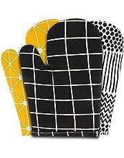 Sophie Nordinn rękawice kuchenne w kolorze czarnym – odporne na wysoką temperaturę rękawice do gotowania (zestaw 2 szt.) – rękawice do grilla – wysokiej jakości rękawice do garnków – można prać w pralce – rękawice do piekarnika