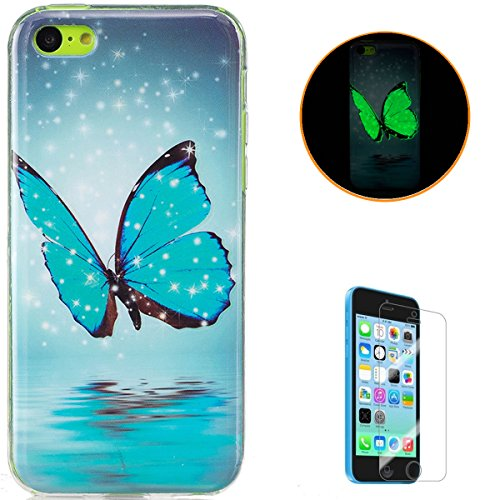 Silicone Soft TPU Floral Pattern Case for iPhone 5C (Green) - 3