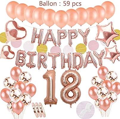 Decoración de cumpleaños Oro rosa para la décimo octava niña: globos de papel de helio Banner de feliz cumpleaños con guirnalda y número18 y 40 globos ...