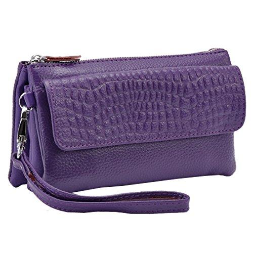 Sweetmeet Women's Genuine Leather Purse Wallet Zip Bag Wristlet Clutch Crocodile