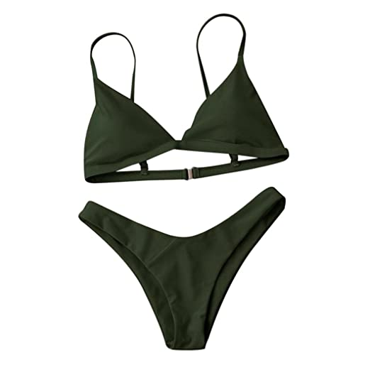 7e3d7b071eb Amazon.com: Solid Color Thong Bikini Set, Leyorie Women Push-Up Padded Bra  Brazilian Beach Swimsuit Cheeky Swimwear: Clothing