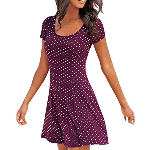 Loosebee Women's Round Collar Polka Dot Casual Bohemian Tunic Cocktail Party Mini Skirt A-Line Dress Purple