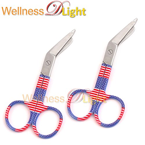 Wdl 2 Lister Bandage Scissors 3.5'' German Grade with American Flag Pattern by WellnessD'Light