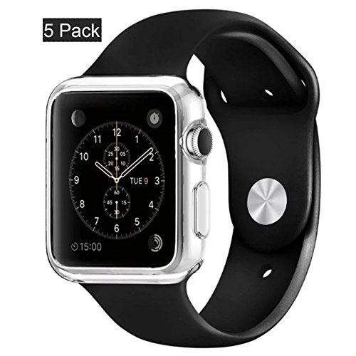 [5pack]Crystal clear iWatch 42mm Case , CaseHQ Ultra Slim 0.3MM Lightweight Polycarbonate Hard Protective Bumper Cover for All Versions 42mm Apple Watch Series 1/ Original (2015)Sport & Edition-Clear
