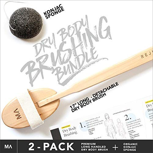 Luxurious All Natural Dry Body Brushing & Konjac Sponge Bundle - Long Detachable Handle with Natural Boar Bristles - Shower & Bath Brush to Treat Cellulite, Exfoliate Skin, Lymphatic Drainage