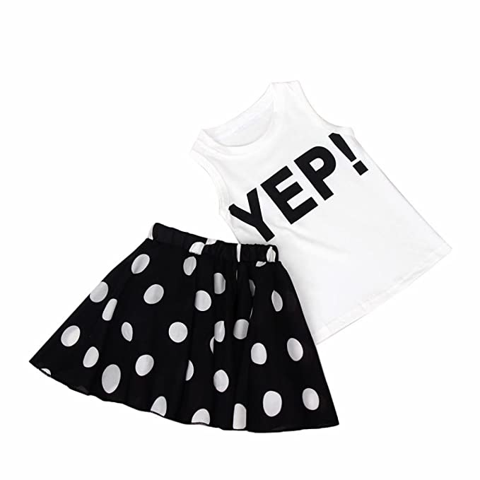 Clode for 2-7 Years Old Fashion Girls Girls Letter Vest and Chiffon Dot Skirt Two Pieces Set Clothes Children Skirt Suit