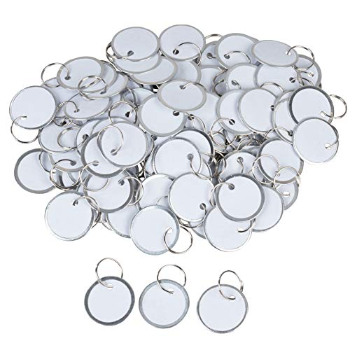 Paper Key Tags - 100 Pack Paper Key ID Label Name Tags with Split Ring, Keychain, Rim Tag Small Coded Tag Key Chain Keyring Set for Kids Backpack, Luggage, Pets, White, 1.2 Inches in Diameter (Best Name Brand Rims)
