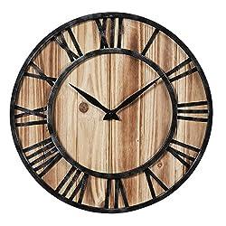 Aero Snail 16-inch Dia Rustic Vintage Black Metal & Solid Wood Silent Decorative Wall Clock