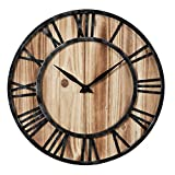 Cheap Aero Snail 16-inch Dia Rustic Vintage Black Metal & Solid Wood Silent Decorative Wall Clock