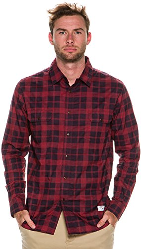 Afends Mens XL Navy Red Check