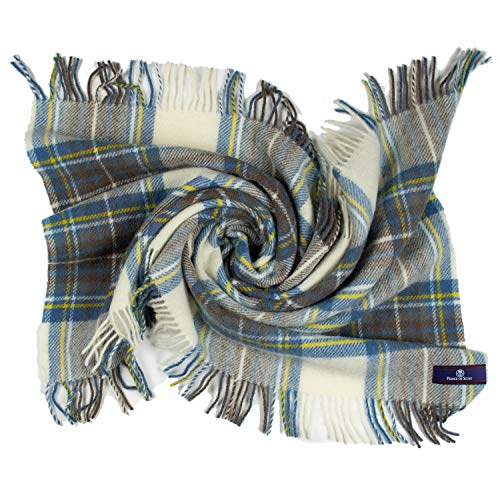 Prince of Scots Highland Tartan Tweed 100% Pure New Wool Lap/Shoulder Throw (Muted Blue Dress Stewart)