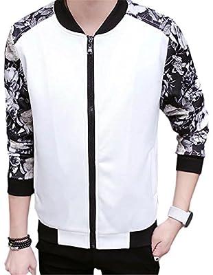 DigerLa Men's Fashion Floral Printed Long Sleeve Baseball Bomber Jacke
