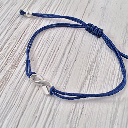 (Dark Blue Thread Friendship Support Bracelet, Handmade Small Sterling Silver 925 Ribbon Shaped Charm, Aware for Colon Colorectal Rectal Cancer, Adjustable)