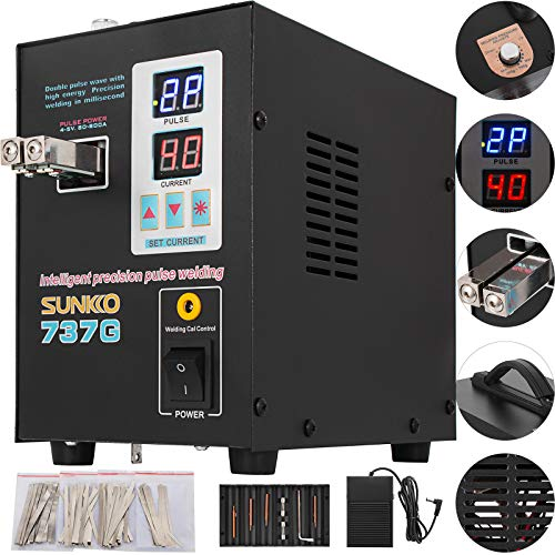 Mophorn 737G Pulse Spot Welder 0.2mm Battery Welding Machine 110V Battery Spot Welder and Soldering Station Portable Pulse Welding Machine for Battery Pack 18650 14500 Lithium Batteries