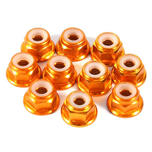 Nut Lock Flanged Aluminum (Hex Self-Lock Nuts, 10 PCS M4 Nut CNC Aluminum Flanged Nylon Lock Nut Self-Locking Metal Nuts Gold)
