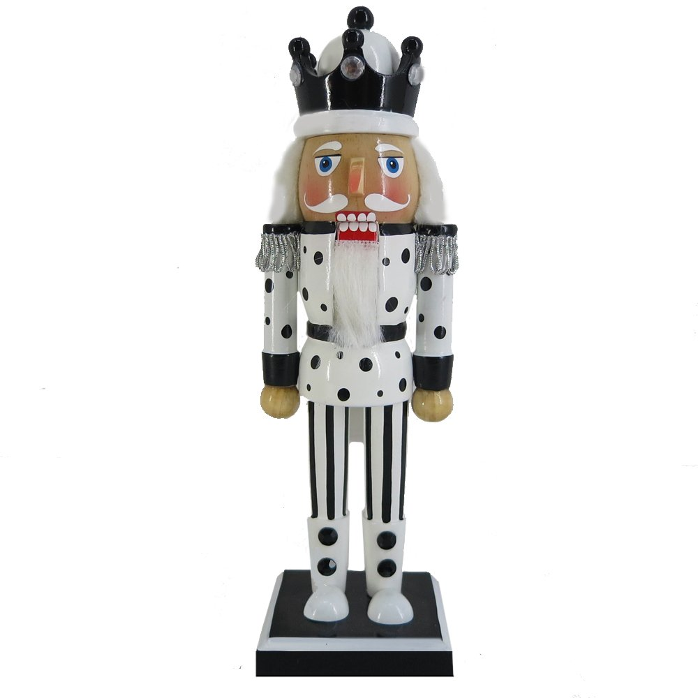 Christmas Holiday Wooden Nutcracker Figure Soldier King with Traditional Black and White Polka Dot and Stripes Uniform Jacket and Crown with Sparkle Rhinestone Details, Large, 10 Inch Nutcracker Ballet Gifts N1029-B