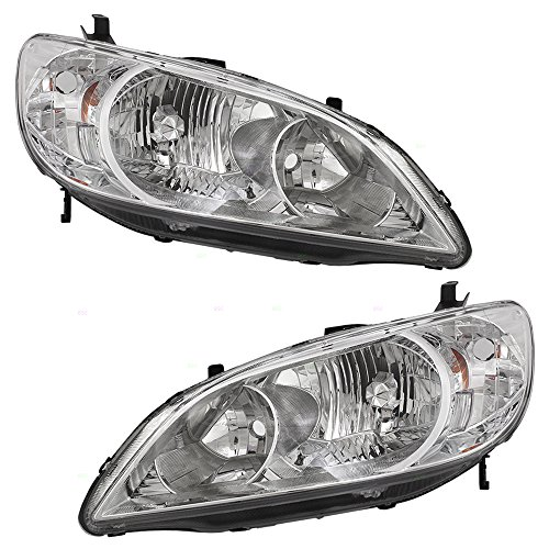 Driver and Passenger Headlights Headlamps Replacement for Honda 33151-S5A-A51 33101-S5A-A51 (Honda Sedan Civic Headlamp Headlight)