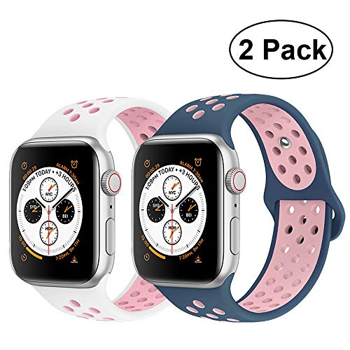 R-fun Band Compatible with Apple Watch 38/40mm Women and Men, Soft Silicone Replacement Wristband for Apple iWatch Series 4, Series 3, Series 2, Series 1, Sport, Edition ()