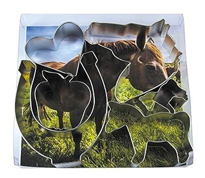 R&M International 2000 Equestrian Cookie Cutters, Horseshoe, Heart, Apple, 3 Horses, 6-Piece Set