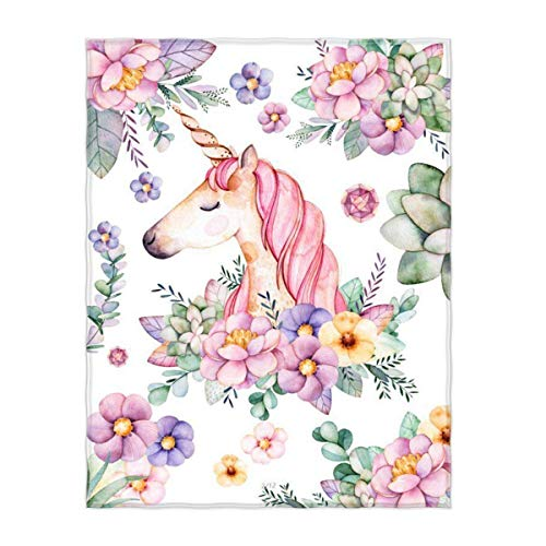 QH Cute Unicorn and Flower Print Super Soft Throw Blanket for Bed Couch Sofa Lightweight Travelling Camping 58 x 80 Inch Throw Size for Kids Adults