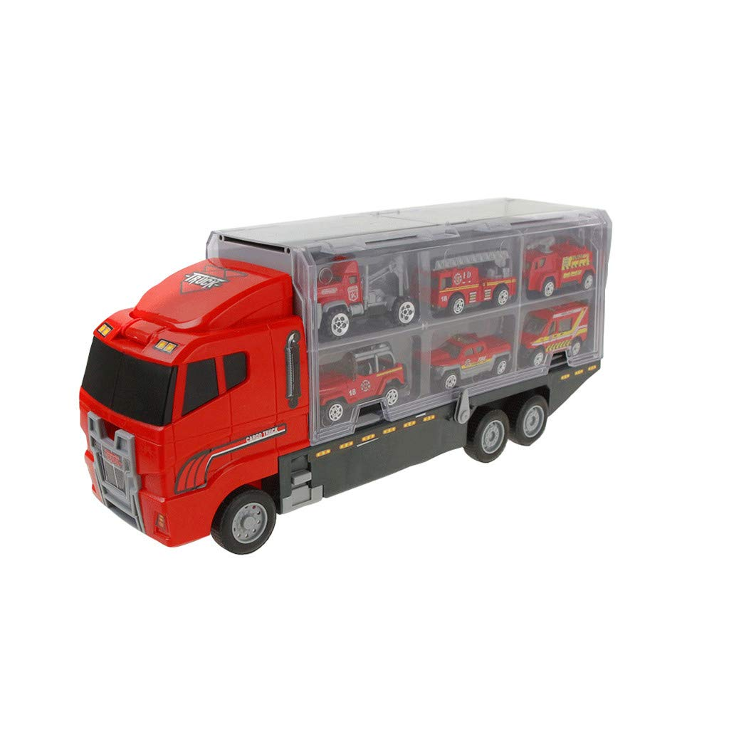 AHAYAKU Carrier Truck Toy Car Transporter Includes 6 Metal Cars Toy for Boys Great Gift 2019 Summer by AHAYAKU